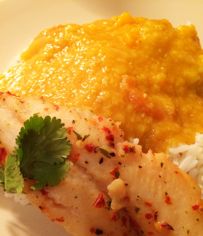 Basa fillet with lentils and rice